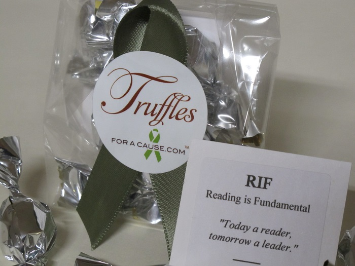 Close up of chocolate wedding favors for Suzanne's bridal shower with RIF for her charity.
