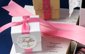 Overhead view of personalized ribbons on our favors.