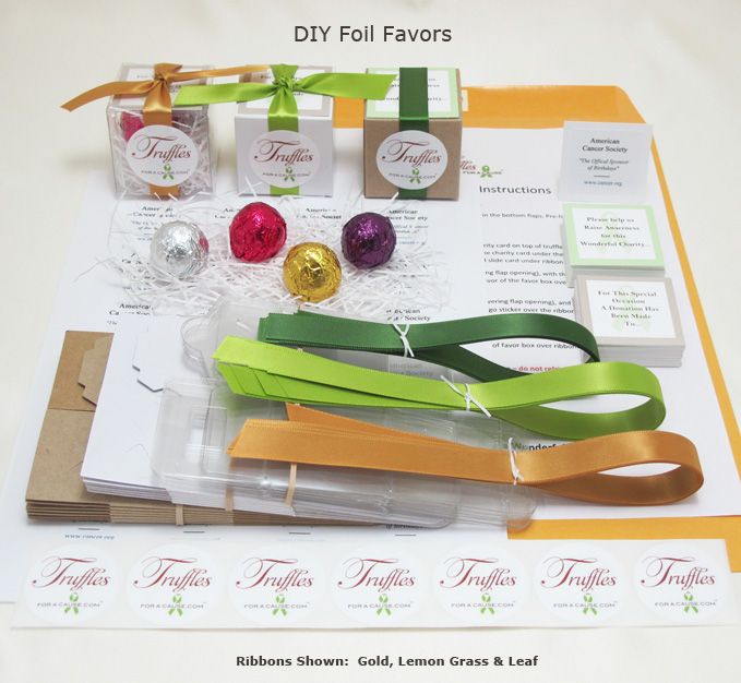 Front display of our Foil DIY Favors showing all components.