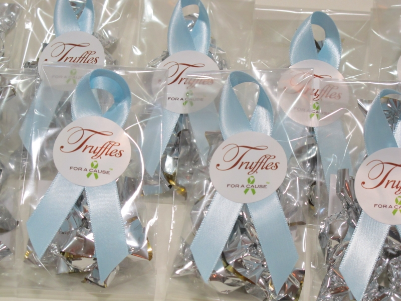 Lt. Blue ribbons on Mini favors with silver chocolate mini truffles inside.