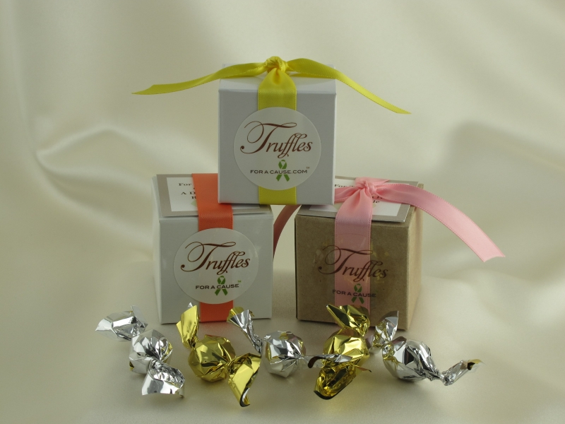 Boxed Mini Favor display with silver & gold chocolate mini truffles inside.