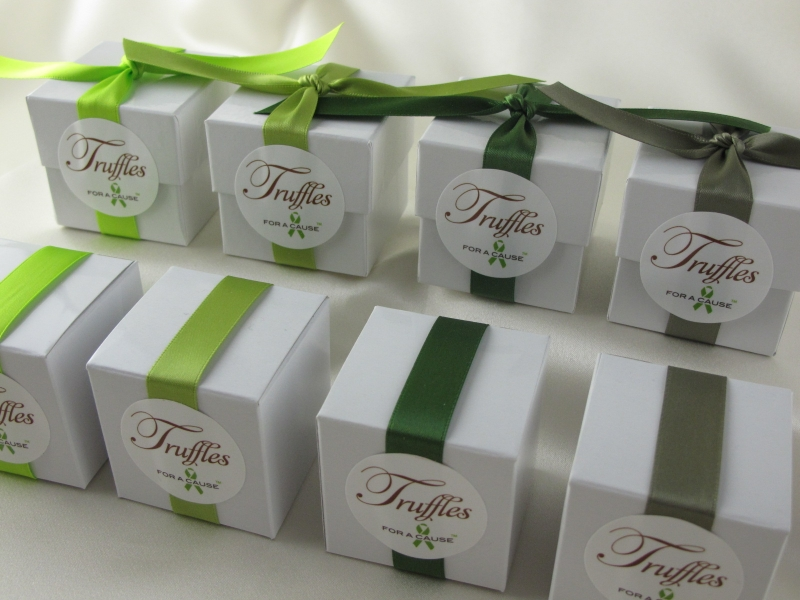 New chartreuse, Lemon Grass, Leaf & Sage ribbons all on display white favor boxes with milk chocolate truffles inside.
