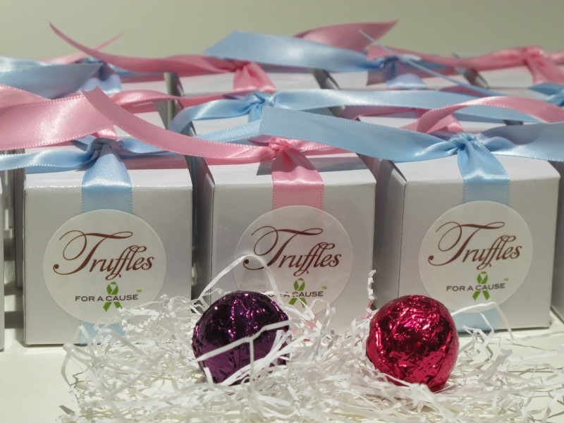 Pink & Lt. Blue ribbons on white foil favors with chocolate amaretto and raspberry foil truffles displayed in front.