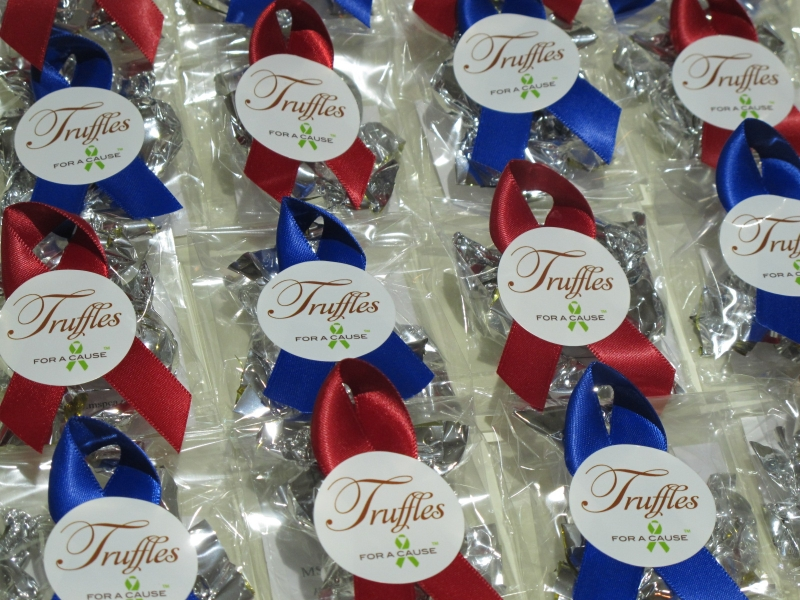 Scarlet & Royal Blue ribbons Mini Favors with silver chocolate mini truffles ready for shipping.