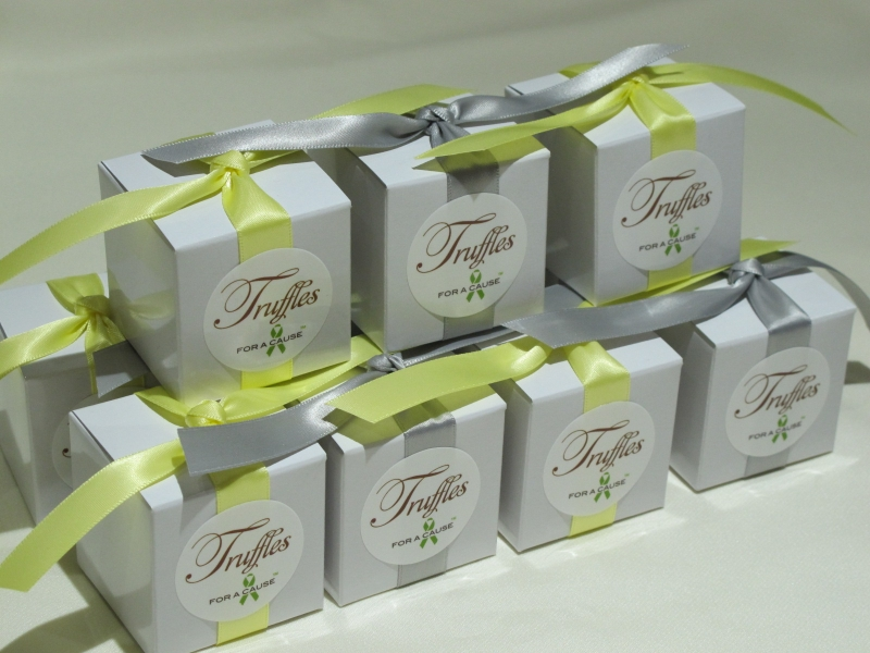 Silver & Baby Maise ribbons tied  on white favor boxes (chocolate amaretto truffles), displayed before shipping.