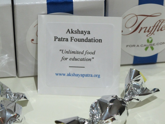 Close of charity card for the Akshaya Patra Foundation - chocolate wedding favors.
