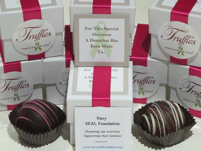 Chocolate wedding favors in a group of Dessert favors of caramel & raspberry jumbo truffles for the Navy Seal Foundation.