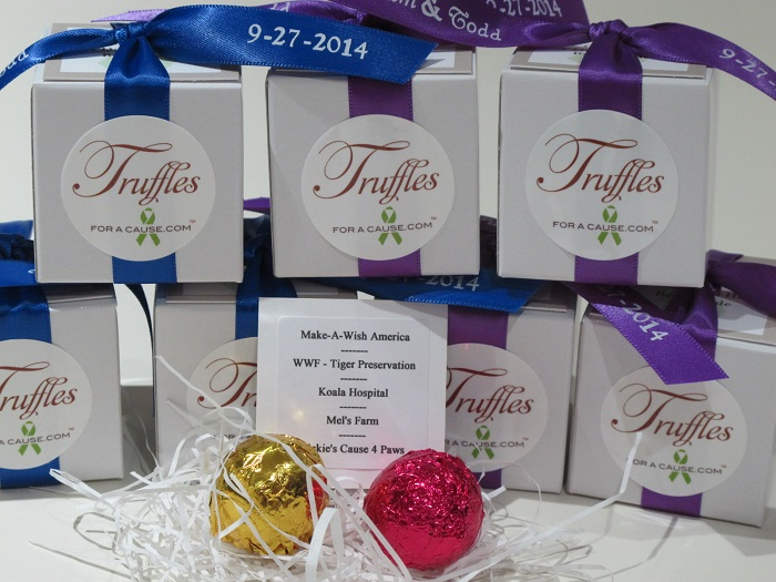 Front view of Pam & Todd's Foil chocolate wedding favors and charity donations.