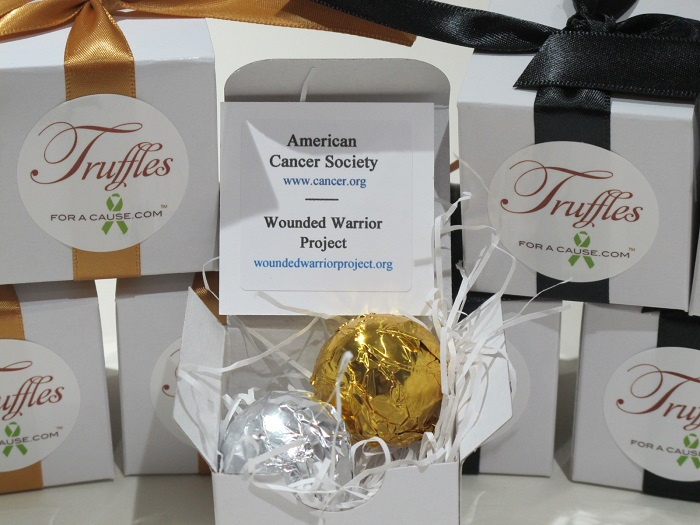 Popular charities - close up view of open Foil favor box with dark chocolate and milk chocolate truffles and charity card.