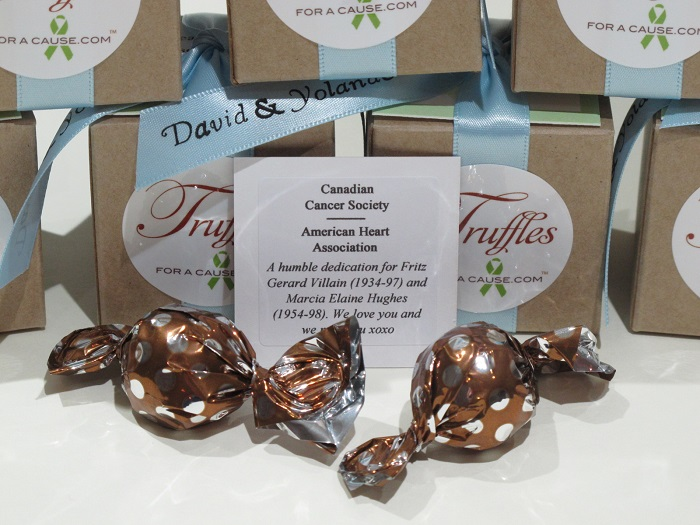 Canadian Cancer Society -Close up of charity card and caramel chocolate favors.