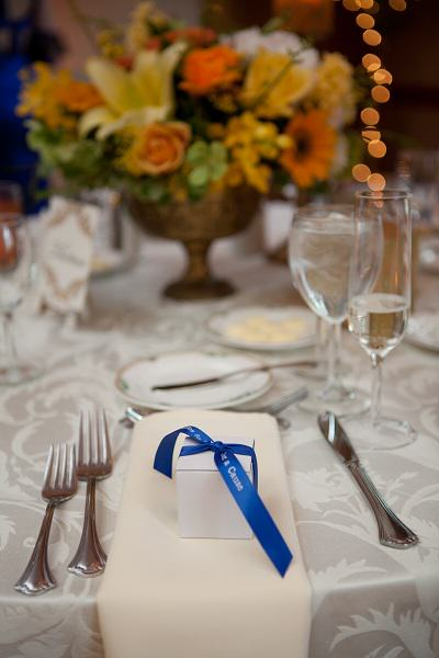 Leukemia lymphoma society - close up of wedding favors for Christina & John with a royal blue ribbons.