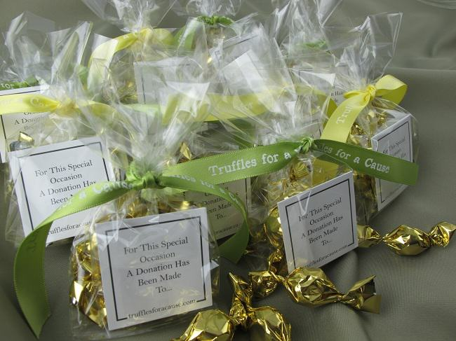 Earth Island Institute - Group view of cello twist wedding favors with lemon & lemon grass ribbons.