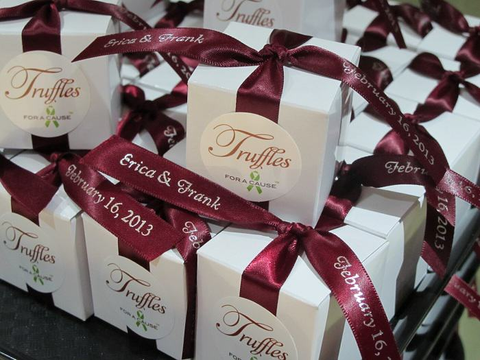 Chocolate wedding favors for Erica & Frank with a wedding donation to The Breast Cancer Research Foundation and Autism Speaks