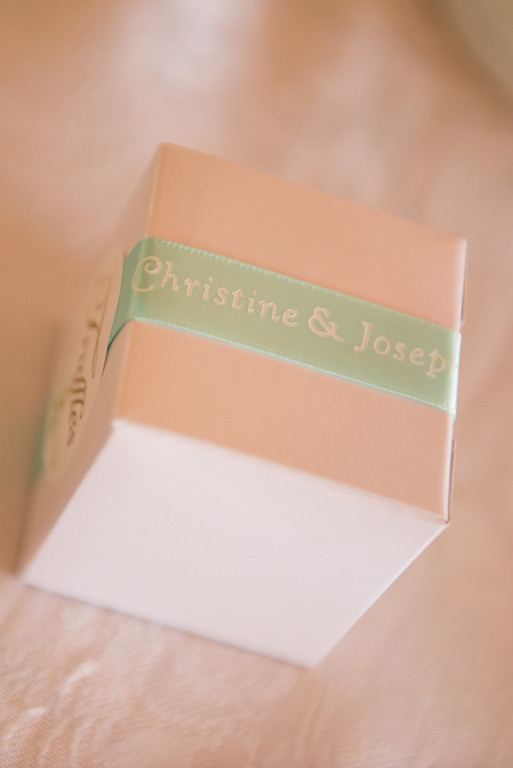 Breast cancer survivor Christine's wedding favor with aqua ribbon on a white favor box..