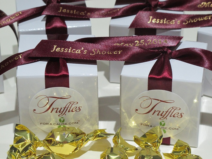 Bridal showers favors with burgundy ribbons for Jessica.
