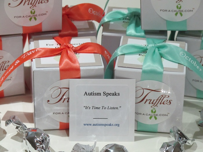 Autism Speaks - front view of Aimee & David's chocolate mini favors with charity card.