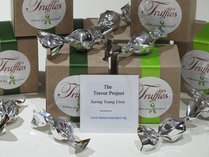 Trevor Project - Chad's close up of charity card on kraft boxed mini favors - chocolate wedding favors.