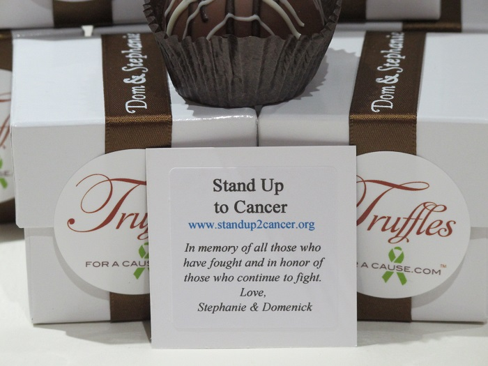 SU2C - close up of charity card for Dom & Stephanie's milk chocolate dessert favors.