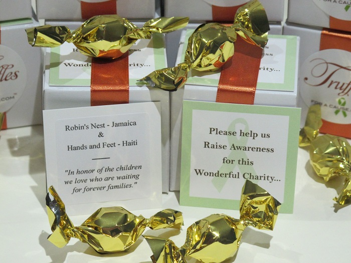 Robin's Nest Jamaica is one of the off-shore charities displayed as Kyndell's favors with charity cards up front