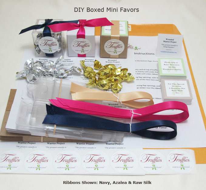 Front display of our Boxed Mini DIY Favors showing all components.