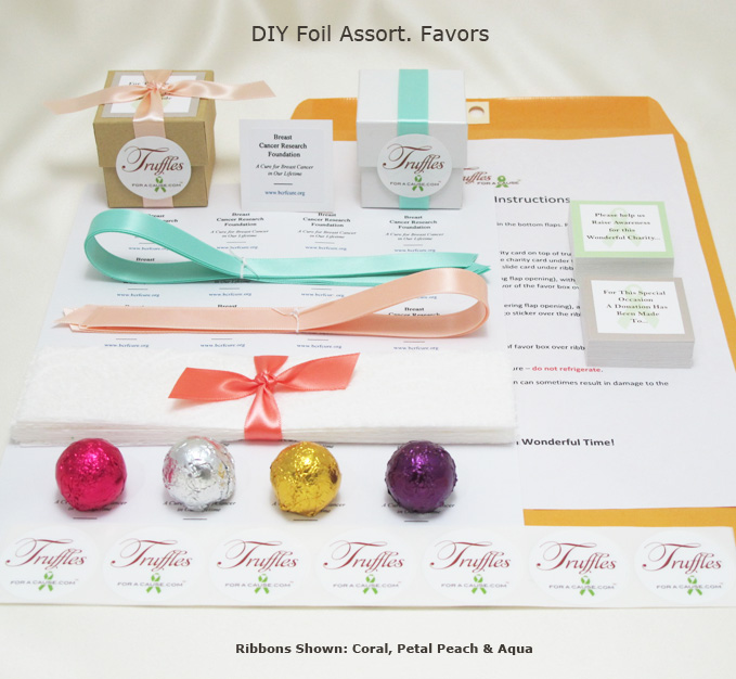 Frontal display of our Foil Assorment DIY Favors showing all components.