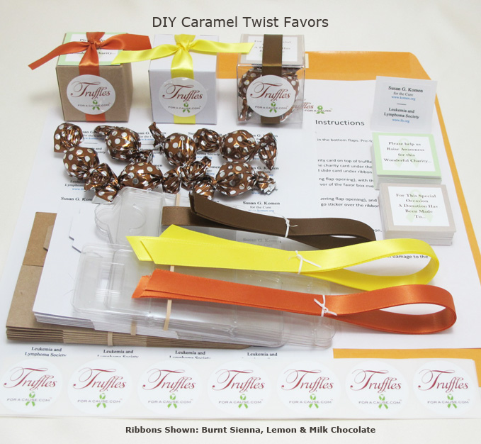 Front display of our Caramel Twist DIY Favors showing all components.