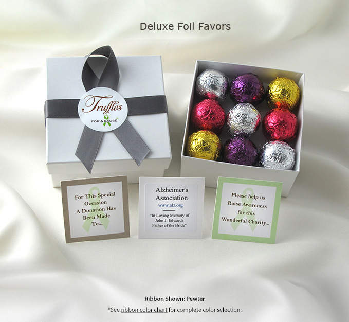 Frontal display of our Deluxe Foil Favors