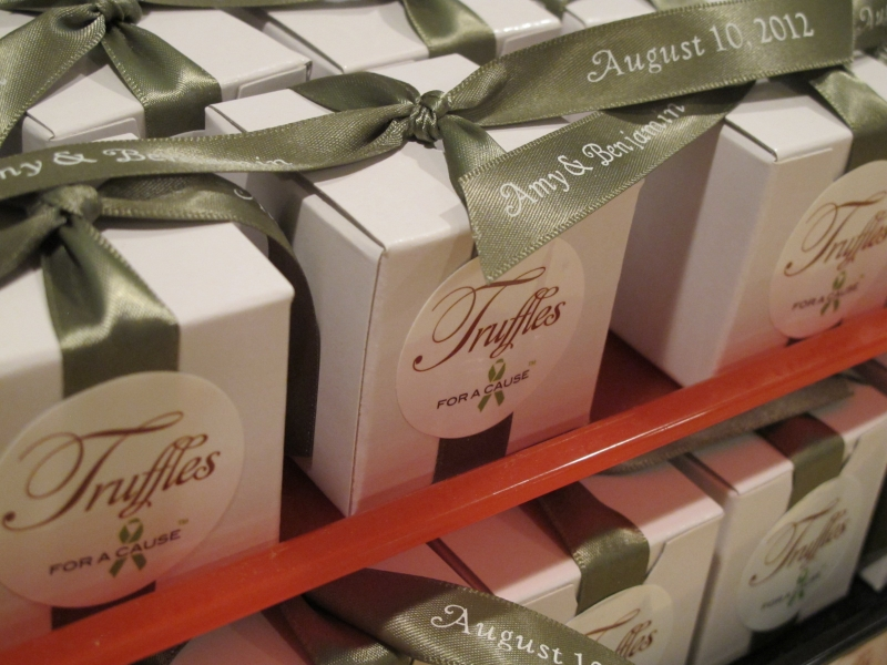 Deep Sage ribbons on white boxes (in assembly mode), with chocolate amarreto & dark chocolate foils inside.