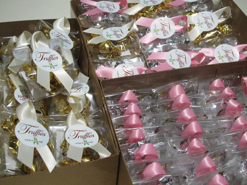 Ivory & Pink ribbons on Mini's (assembly), for shipping with chocolate mini truffles inside.