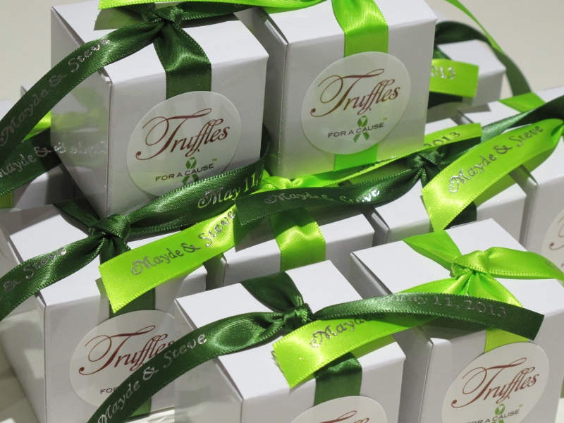 Chartreuse & leaf ribbons on white favor boxes with chocolate mini truffles inside.
