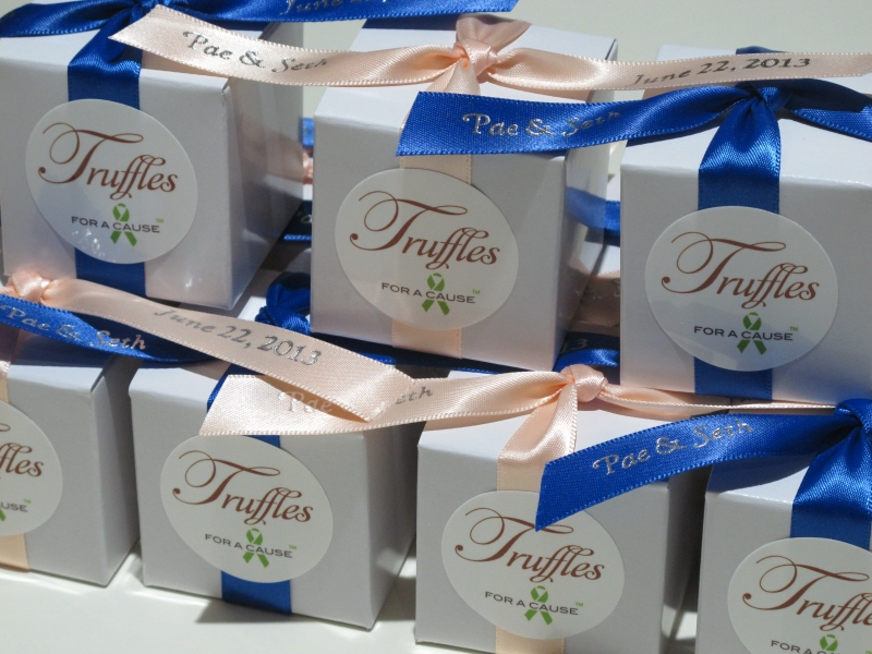 Petal Peach & Royal Blue ribbons on white favor boxes in assemble mode with various chocolate mini truffles inside.