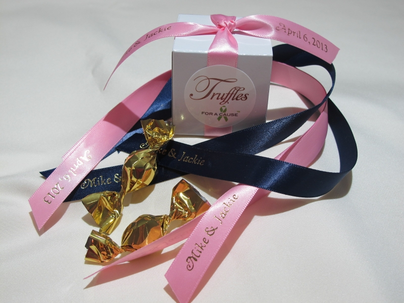 Pink & Navy ribbons on white Boxed Mini favor with gold chocolate mini truffles displayes in front.