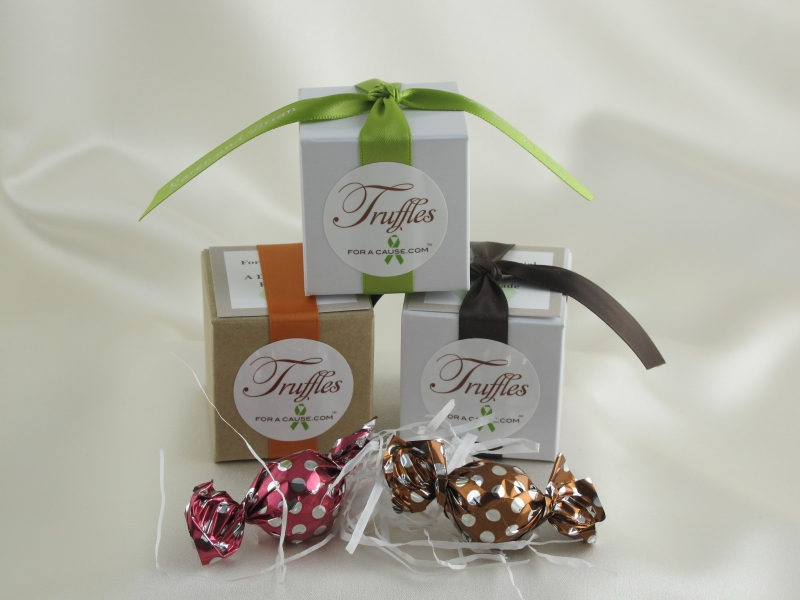 Chocolate raspberry and caramel Twist Favors shown as a tripod display