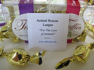 Animal Rescue League Boston charity card close up.