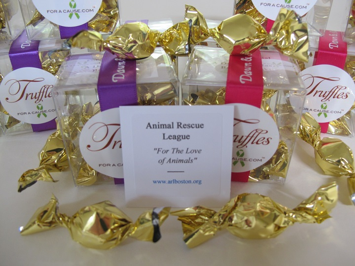 Animal Rescue League Boston donation for front view of clear Boxed Mini Favors - charity card at center.